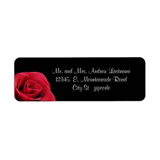 red rose on black address labels zazzle com