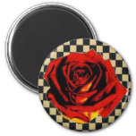 Red Rose on Black and Beige Check Refrigerator Magnets