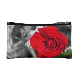Red Rose on Black and White background Makeup Bag