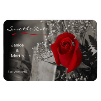 Red Rose on Black and White Save the Date Magnets