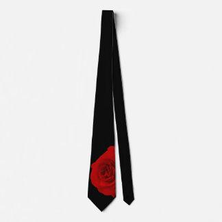 Red Rose on Black Background Neck Tie