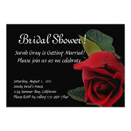 Red rose on black bridal shower custom invitations