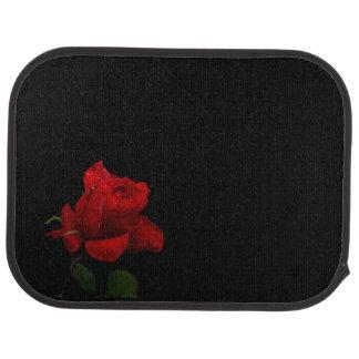 Red Rose on Black Car Mat