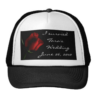 Red Rose on Black- customize it Mesh Hats