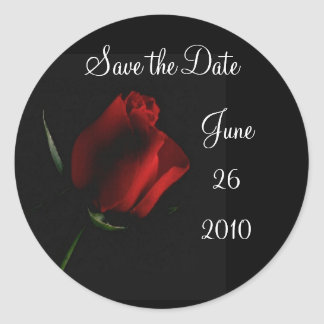 Red Rose on Black-customize it Classic Round Sticker