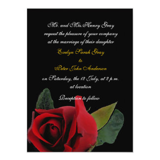 Red rose on black exotic wedding 5.5x7.5 paper invitation card