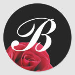red rose on black initial sticker