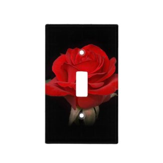 Red Rose on Black Light Switch Covers