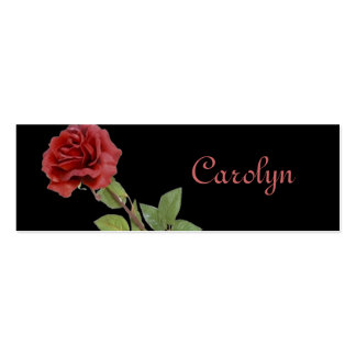 Red Rose on Black Mini Bookmarks Business Cards