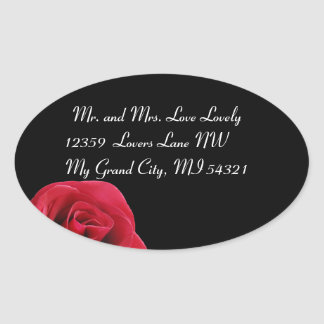 red rose on black oval stickers