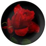 Red Rose On Black Porcelain Plates