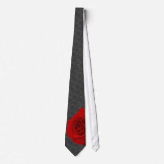 Red Rose on Black Roses Background Tie
