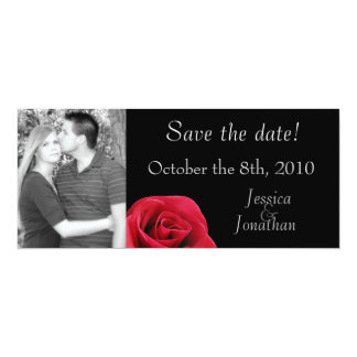 """Red Rose on black """"save the date"""" cards"""