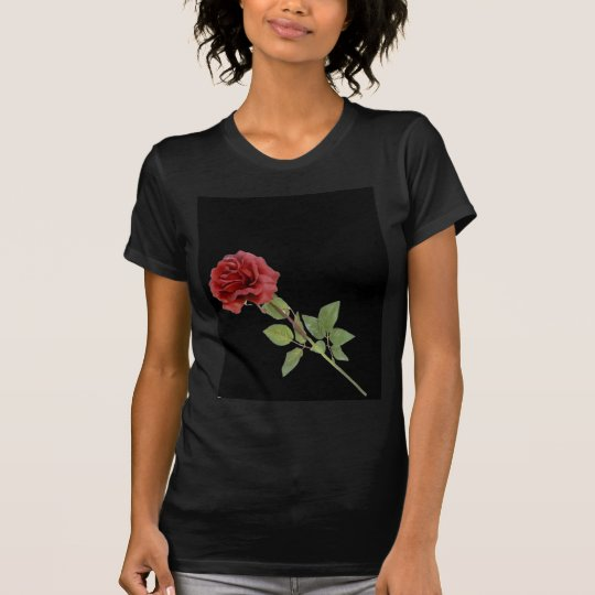 Red Rose on Black T-Shirt