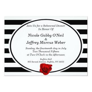 Red Rose on Black & White Stripes Rehearsal Dinner Invitation