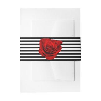 Red Rose on Black & White Stripes Wedding Invitation Belly Band
