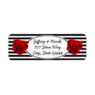 Red Rose on Black & White Stripes Wedding Label