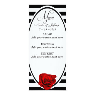 Red Rose on Black & White Stripes Wedding Menu Card