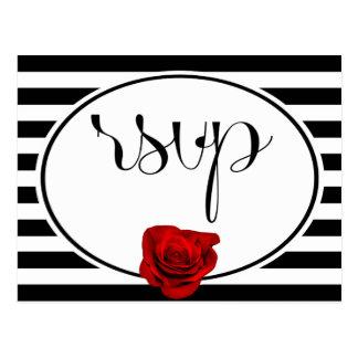 Red Rose on Black White Stripes Wedding RSVP Card