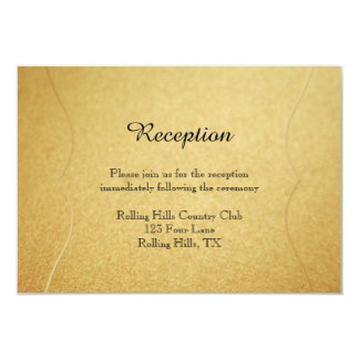 Red Rose on Gold Wedding Reception Insert Card