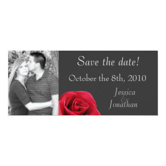 """Red Rose on grey """"save the date"""" cards"""