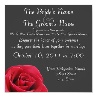 red rose on grey wedding invitations