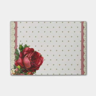 Red Rose on Lace Dots Background Post-It Notes
