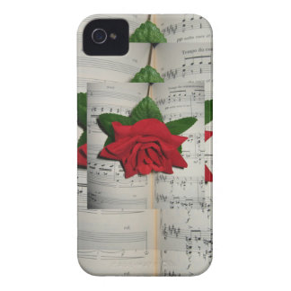 Red Rose on Music Notes Iphone 4S Case