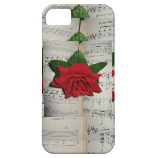 Red Rose on Music Notes Iphone 5S Case