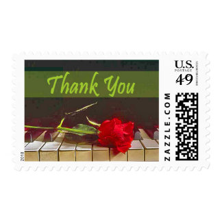 Red Rose On Piano Stamp