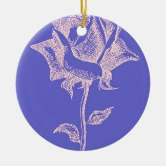 Red Rose on Purple Ceramic Ornament