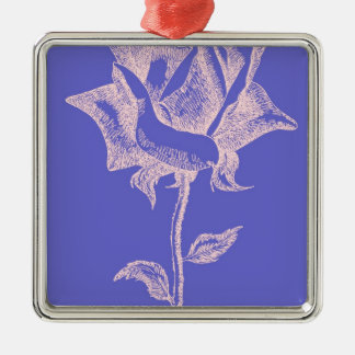 Red Rose on Purple Metal Ornament