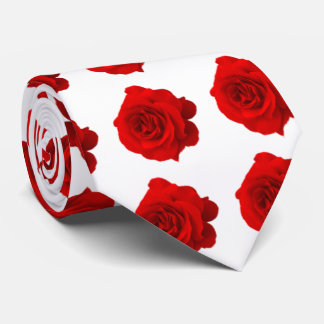 Red Rose on White Tie