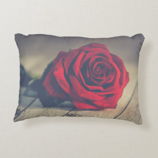 Red Rose on Wooden Floorboards Accent Pillow
