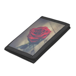 Red Rose on Wooden Floorboards Trifold Wallet