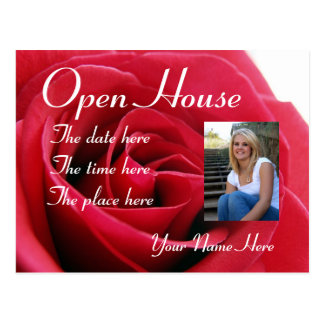 red rose,open house postcard