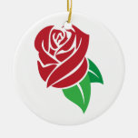 Red Rose Double-Sided Ceramic Round Christmas Ornament
