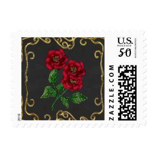 Red Rose Ornate Postage Stamp