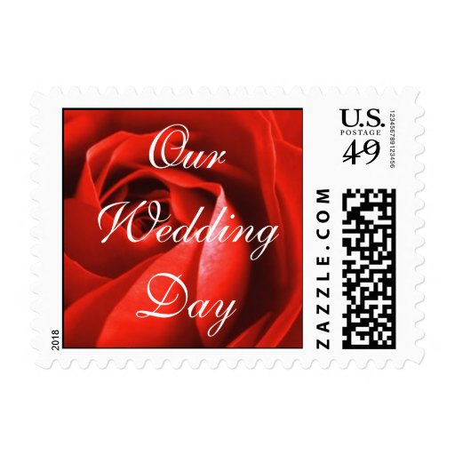 Red Rose, Our Wedding Day Postage Stamp
