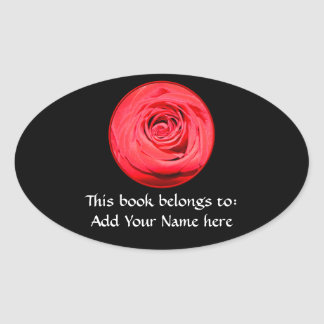 Red rose oval sticker