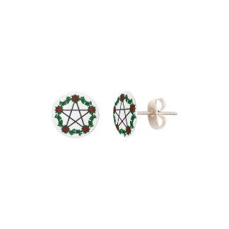 Red Rose Pagan Black Pentagram Pentacle Earrings