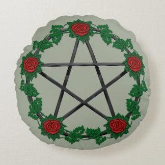 Red Rose Pagan Black Pentagram Pentacle Pillow