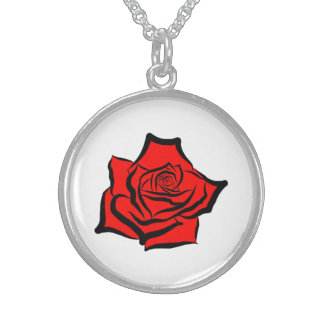 Red Rose Painted Single Rose Digital Art Rose Love Round Pendant Necklace
