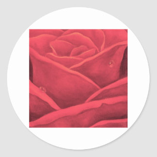 Red Rose Painting Close Up - Multi Round Stickers