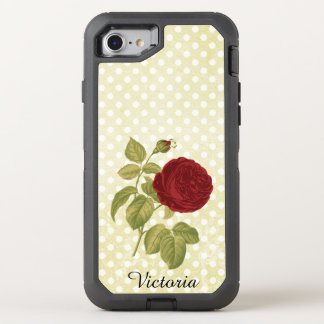 Red Rose Parchment Polka Dots Antique Name OtterBox Defender iPhone 7 Case