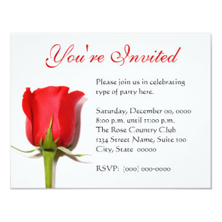 "Red Rose Party Invitation 4.25"" X 5.5"" Invitation Card"