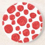 Red Rose Pattern. Beverage Coasters
