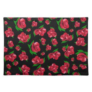 Red Rose Pattern Black Placemats
