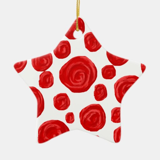 Red Rose Pattern. Christmas Ornaments