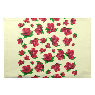 Red Rose Pattern Cream Place mats